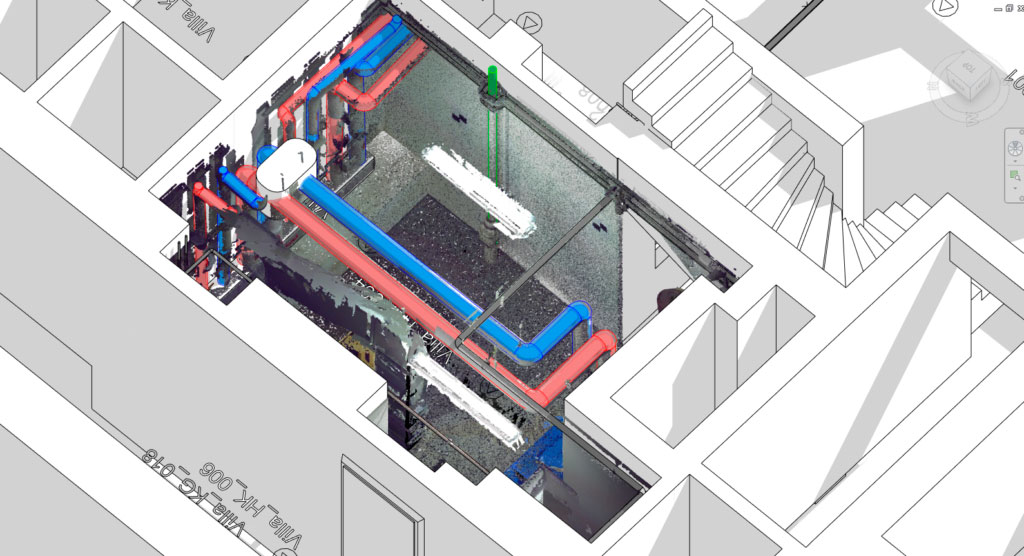As-Built for Autodesk Revit - Revit modeled MEP Pipework with point cloud section